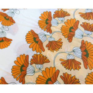 Nappe 70's fleurie orange,...