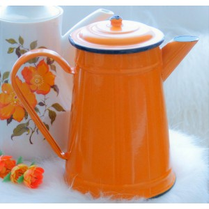 Cafetiere email orange...