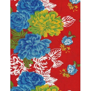 """Tissu fleuri """"BOHEME"""" rouge"""
