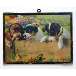 Cadre vintage avec chiens...