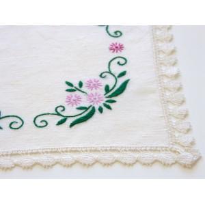 Napperon coton fleurs roses...