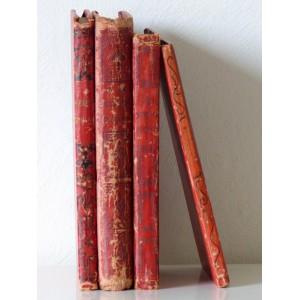 4 Livres anciens deco rouge...