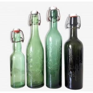 4 bouteilles Brasserie vert