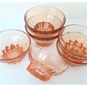 6 Verres Coupes anciennes rose