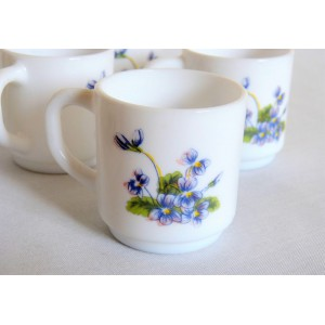 6 tasses ARCOPAL violettes...