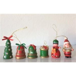 6 Figurines bois noël vintage