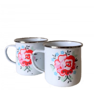 2 mugs vintage en tole...
