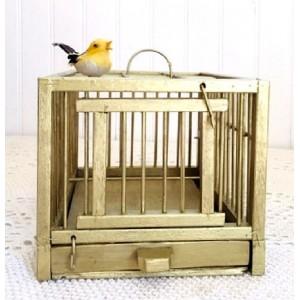 Cage vintage en bois dore