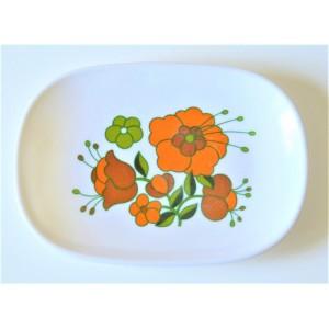 Plat TEFAL 70's Fleurs orange