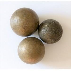 3 boules petanque laiton...