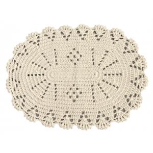 Tapis ovale en crochet blanc