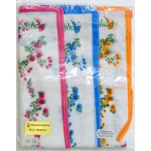 6 Mouchoirs tissu fleuri...