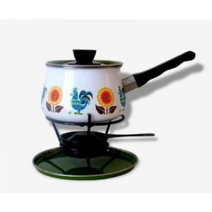 Set fondue 70's motifs coqs...