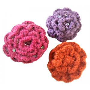 3 Broches fleur en crochet...