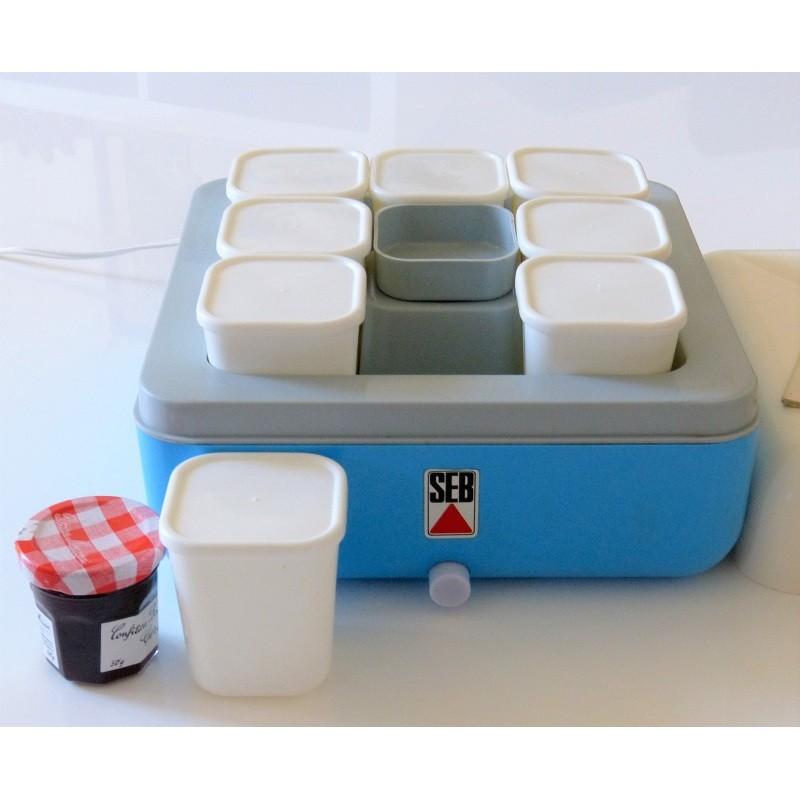 Yaourtière Seb électrique Bleue Vintage 60 S Avec 8 Pots Blancs