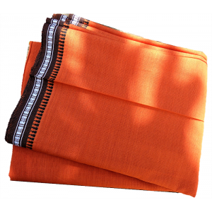 Fouta coton orange brodee a...
