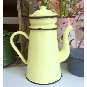 Cafetiere email ancienne jaune