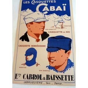 Ancienne affiche Casquettes...