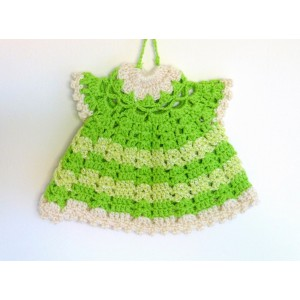 Manique crochet robe verte...